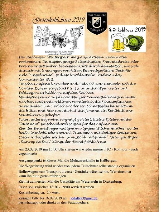 Einladung Grünkohltour 2019
