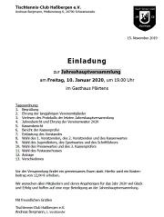 Einladung Jahreshauptversammlung 2020