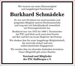 Trauer Anzeige Burkhard Schmädeke