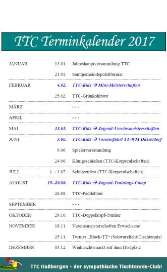TTC Terminkalender 2017©TTC Haßbergen