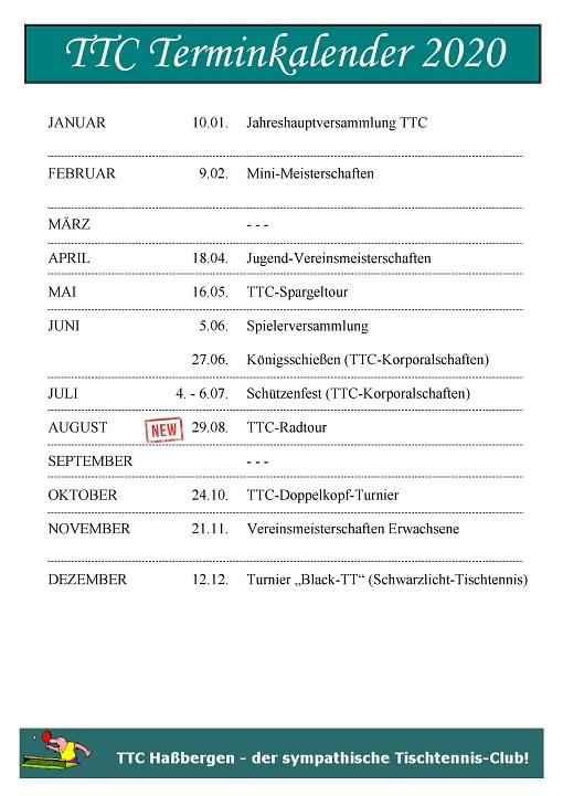 TTC Terminplan 2020©TTC Haßbergen