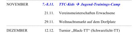 TTC-Terminplanänderung