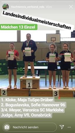 Veronica Meyer aus Haßbergen (Dritte von links) wurde im Einzel der Mädchen 13 Dritte der Landesmeisterschaften.