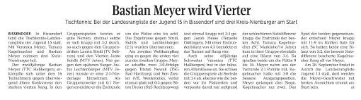 "Zeitungsbericht ""Die Harke"" 18.09.19 Landesrangliste Schüler A"