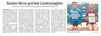 """Zeitungsbericht """"Die Harke"""" über Landesranglistensieg von Bastian©TTC Haßbergen"""